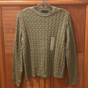 Karen Scott Classic Cable Knit Sweater in Green.